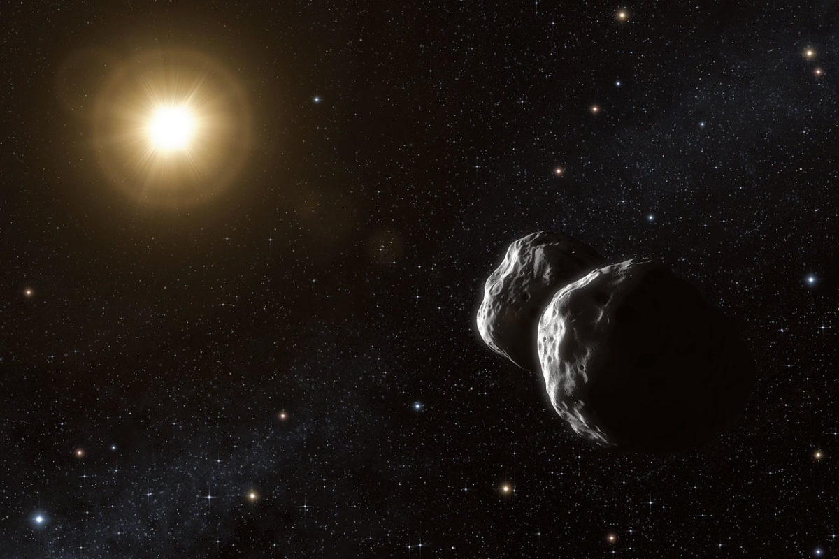 Artist's impression of the asteroid (234) Barbara. Thanks to a unique method that uses ESO's Very Large Telescope Interferometer, astronomers have been able to measure sizes of small asteroids in the main belt for the first time. Their observations also suggest that Barbara has a complex concave shape, best modelled as two bodies that may possibly be in contact.